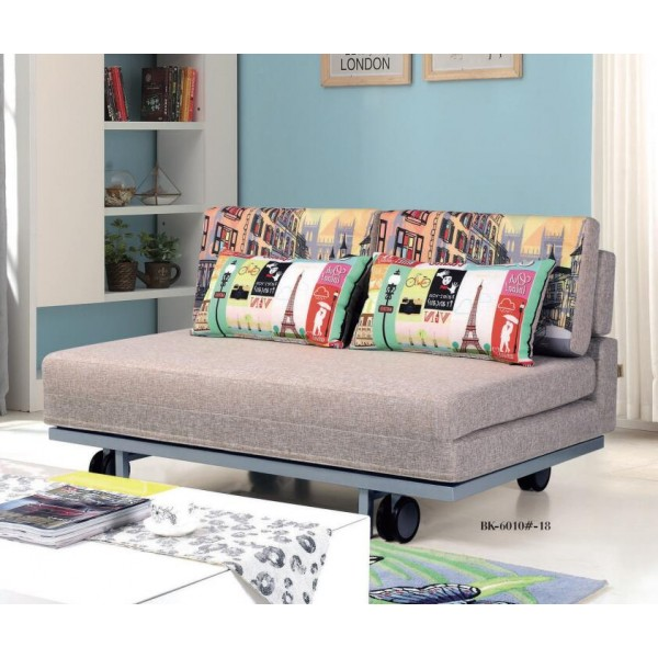 Lazy Sofa Bed with 2 Pillows Folding Iron Durable Frame Convertible Easily Stylish Sofa Couch Beds with Pulleys 3 Size and 5 Colors