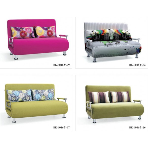 Sofa Bed 2 Seater with 2 Pillows Iron Durable Frame Convertible Easily 2 Specifications Various ColorsSofa Bed