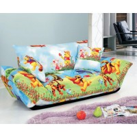 Sofa Bed 2 Seater with 2 Pillows Iron Durable Frame Convertible Easily Various Colors