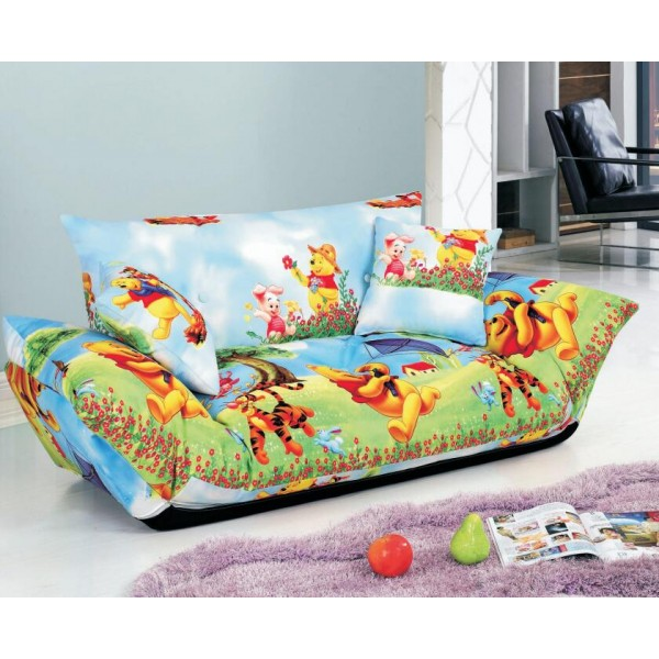 Sofa Bed 2 Seater with 2 Pillows Iron Durable Frame Convertible Easily Various ColorsSofa Bed