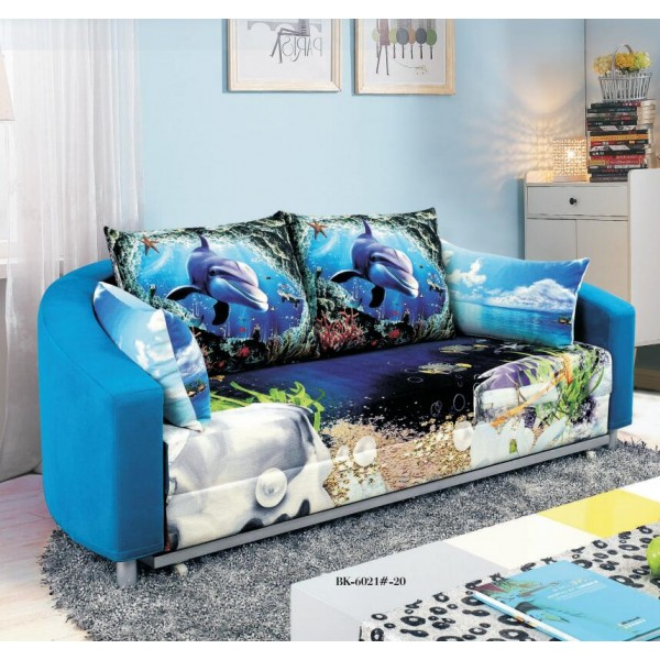 Circular Sofa Bed 2 Seater with 2 Pillows Iron Durable Frame Convertible Easily Various Colors