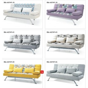 Sofa Bed 2 Seater with 4 Pillows Iron Durable Frame Convertible Easily Various Colors