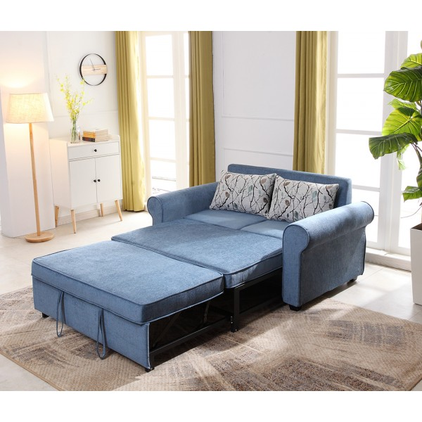 Sofa Bed 2 Seater with 2 Pillows Iron Durable Frame Convertible Easily 4 colorsSofa Bed