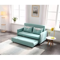 Sofa Bed 2 Seater with 2 Pillows Folding Iron Durable Frame Convertible Easily 2 Specifications
