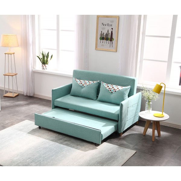 Sofa Bed 2 Seater with 2 Pillows Folding Iron Durable Frame