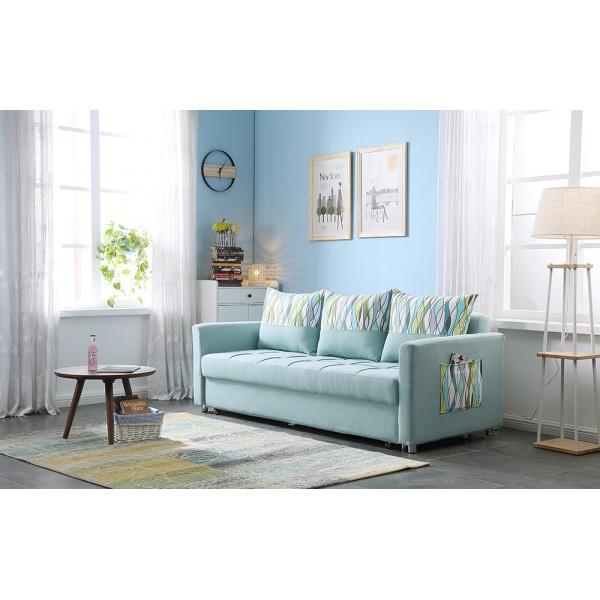 Sofa Bed with 3 Pillows Folding Iron Durable Frame Convertible Easily Printable