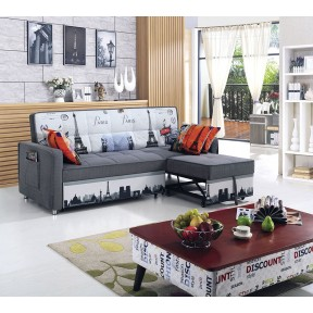 Sofa Bed with 3 Pillows Folding Iron Durable Frame Convertible Easily