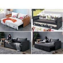 Sofa Bed with 4 Pillows Folding Iron Durable Frame Convertible Easily Black