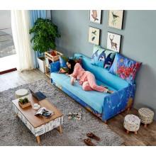 Sofa Bed with 3 Pillows Folding Hardwood Durable Frame Convertible Easily Orange