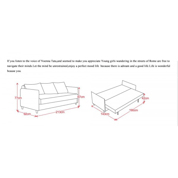 Sofa Bed with 3 Pillows Folding Hardwood Durable Frame Convertible Easily OrangeSofa Bed