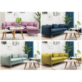 Three Seater Sofa with 3 Pillows Modern Nordic Style Solid Wood Cotton 5 Colors