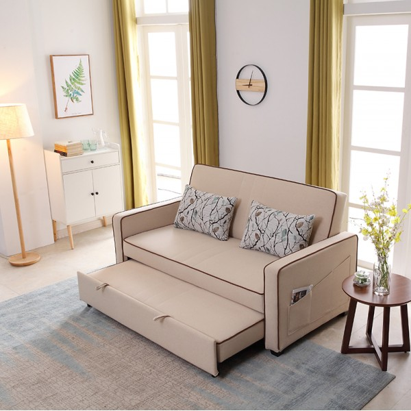 Folding Lazy Sofa Chair 2 Seater with 2 Pillows Iron Durable Frame Convertible Easily Stylish Sofa Couch Beds Available in Three Sizes