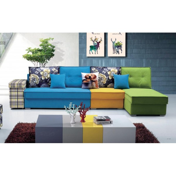 Modern Detachable Storage Sectional Sofa Chair 4 Seater with 3 Pillows Stylish Sofa Couch Corner Sofa Chaise Armchair and Ottoman with Storage Function