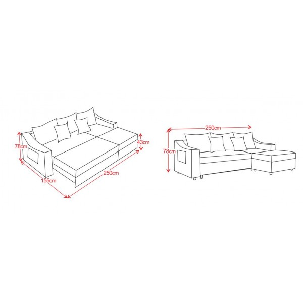 Folding Sofa Chair 4 Seater with 5 Pillows Wooden and Iron Durable Frame Convertible Easily Stylish Sofa Couch Beds Corner Sofa Bed with Storage Function