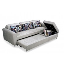 Folding Lazy Sofa Chair 4 Seater with 3 Pillows Wooden and Iron Durable Frame Convertible Easily Stylish Sofa Couch Beds Corner Sofa Bed with Storage Function