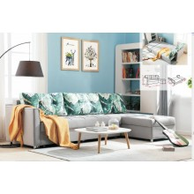 Folding Lazy Sofa Chair 4 Seater with 3 Pillows Iron Durable Frame Convertible Easily Stylish Sofa Couch Beds Corner Sofa Bed with Storage Function