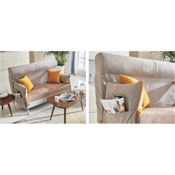 Folding Lazy Sofa Chair 2 Seater with 2 Pillows Wooden Durable Frame Convertible Easily Stylish Sofa Couch Beds