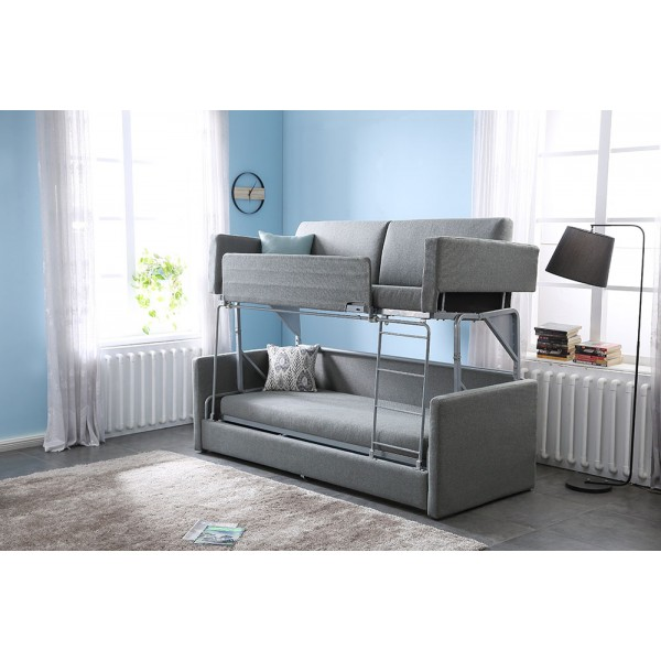 Folding Functional Sofa Bed Fashion Bunk Bed for Living Room Furniture Iron Durable Frame Convertible Easily Stylish Sofa Couch Bunk Beds